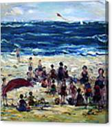 Flying A Kite At The Beach Canvas Print