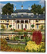 Formal Garden In Front Of A Castle Canvas Print