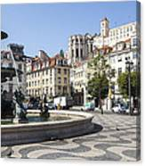 Fountain In The Pedro Iv Square Also Best Known As Rossio Square Canvas Print