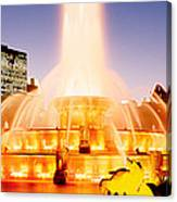 Fountain Lit Up At Dusk, Buckingham Canvas Print