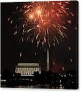Fourth Of July Fireworks At Washington Dc Canvas Print
