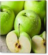 Fresh Healthy Green Apples On Wooden Background Canvas Print