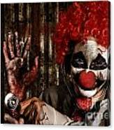 Frightening Clown Doctor Holding Amputated Hand  Canvas Print
