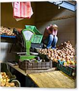 Fruit Stand Woman Canvas Print