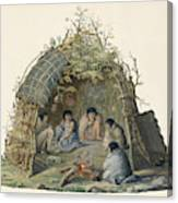 Fuegans In Their Hut, 18th Century Canvas Print