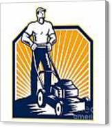 Gardener Mowing Lawn Mower Retro Canvas Print
