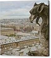 Gargoyle Overlooking Paris Canvas Print