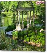 Gazebo By Lake Canvas Print