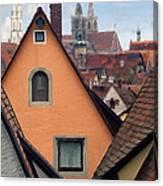 German Rooftops Impasto Canvas Print