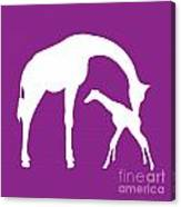 Giraffe In Purple And White Canvas Print