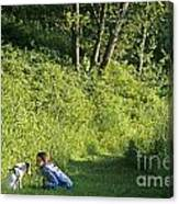 Girl And Dog On Trail Canvas Print