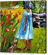Girl In The Garden Canvas Print