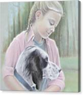 Girl With Her Dog Canvas Print