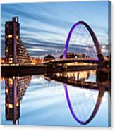 Glasgow River At Night Canvas Print
