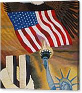 God Bless America Hand Embroidery Canvas Print