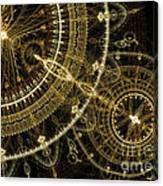 Golden Abstract Circle Fractal Canvas Print