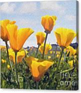 Golden Poppies Impasto Canvas Print