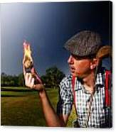 Golf Ball Flames Canvas Print