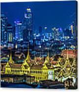 Grand Palace At Twilight In Bangkok Between Loykratong Festival Canvas Print
