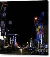Granville Street At Night Vancouver Canvas Print