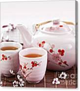 Green Tea Set Canvas Print