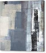 Blocked - Grey And Beige Abstract Art Painting Canvas Print