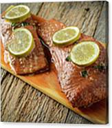Grilled Salmon Cooked On A Cedar Plank Canvas Print