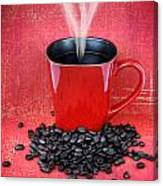 Grungy Red Cup Of Coffee Canvas Print