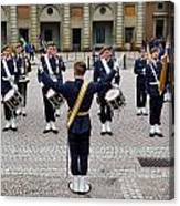 Guards Changing Shifts. Kungliga Slottet.gamla Stan. Stockholm 2 Canvas Print
