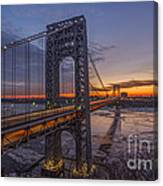 Gw Bridge Car Light Trails  Canvas Print