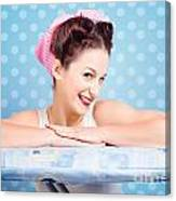 Happy 60s Pinup Housewife On Blue Ironing Board Canvas Print