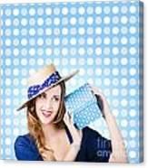 Happy Birthday Girl Holding Present Canvas Print
