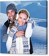 Happy Couple Playing Outdoor At Winter Mountains Canvas Print