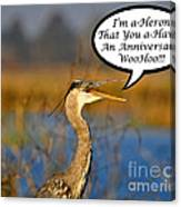 Happy Heron Anniversary Card Canvas Print