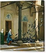 Harem Women Feeding Pigeons In A Courtyard Canvas Print