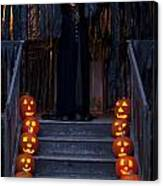 Haunted House With Lit Pumpkins And Demon Canvas Print