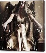 Haunting Horror Scene With A Strange Vampire Girl  Canvas Print