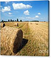 Haystacks In The Field Canvas Print