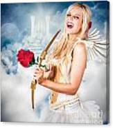 Heavenly Angel Of Love With Flower Arrow Canvas Print