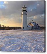 Highland Lighthouse Winter Sunset Canvas Print