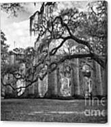 Historic Sheldon Church 4 Bw Canvas Print