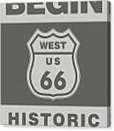 Historical Route 66 Sign Poster Canvas Print