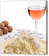 Homemade Cheese Wine And Walnuts Canvas Print