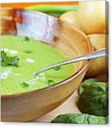 Homemade Potato And Spinach Soup Canvas Print