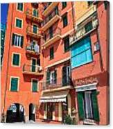 homes and promenade in Camogli Canvas Print