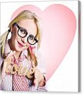 Hopeless Romantic Girl Showing Signs Of Love Canvas Print