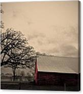 Horse Barn In Red  Canvas Print