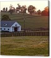 Horse Farm Sunset Canvas Print
