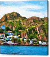 Houses On Hillside Canvas Print