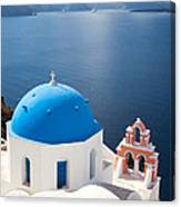 Iconic Blue Domed Churches In Oia Santorini Greece Canvas Print